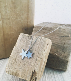 DOUBLE STARS PENDANT- WHITE GOLD