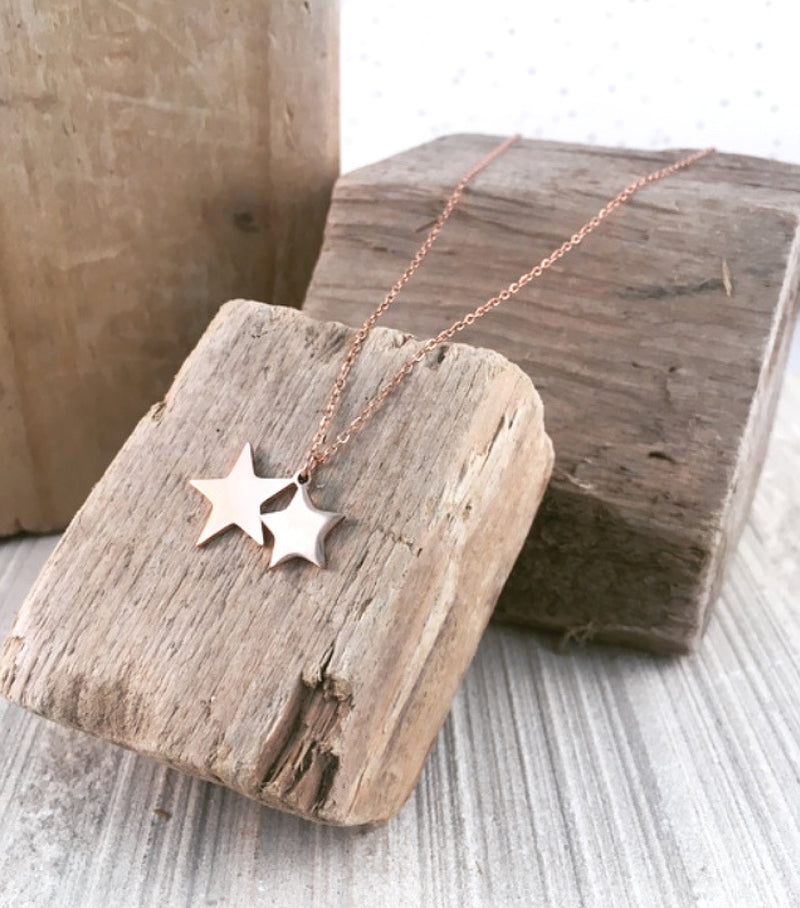 DOUBLE STARS PENDANT- Rose GOLD