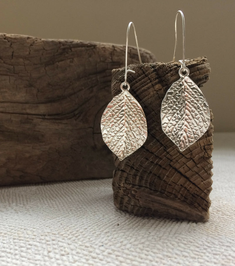 Leaf Drop Earrings - Silver