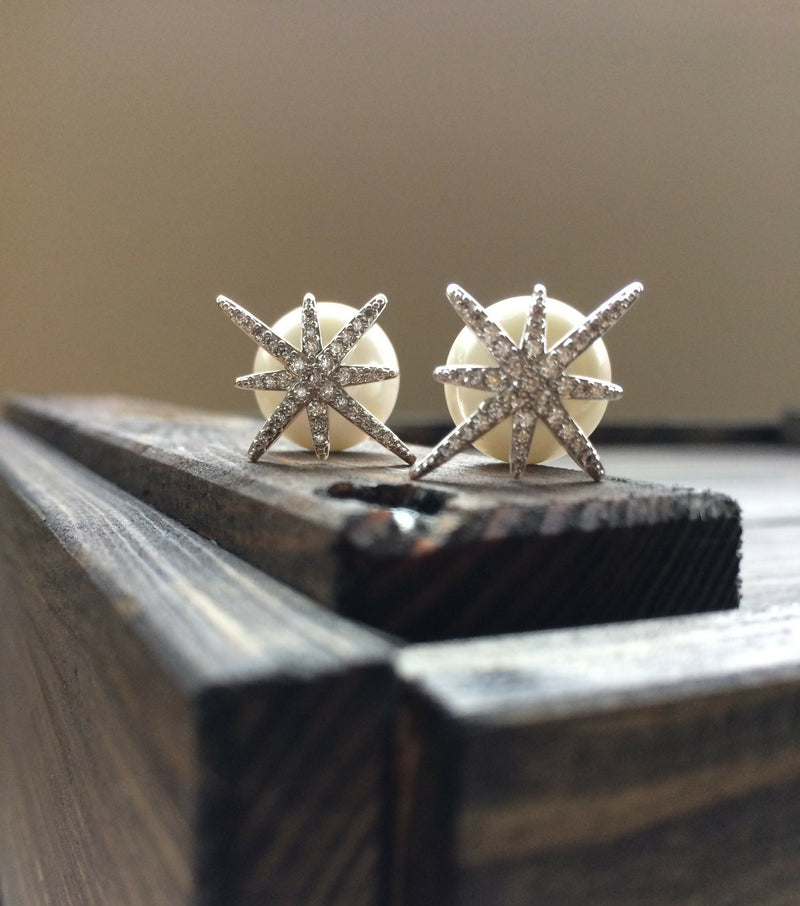 Star and Pearl Studs - White Gold