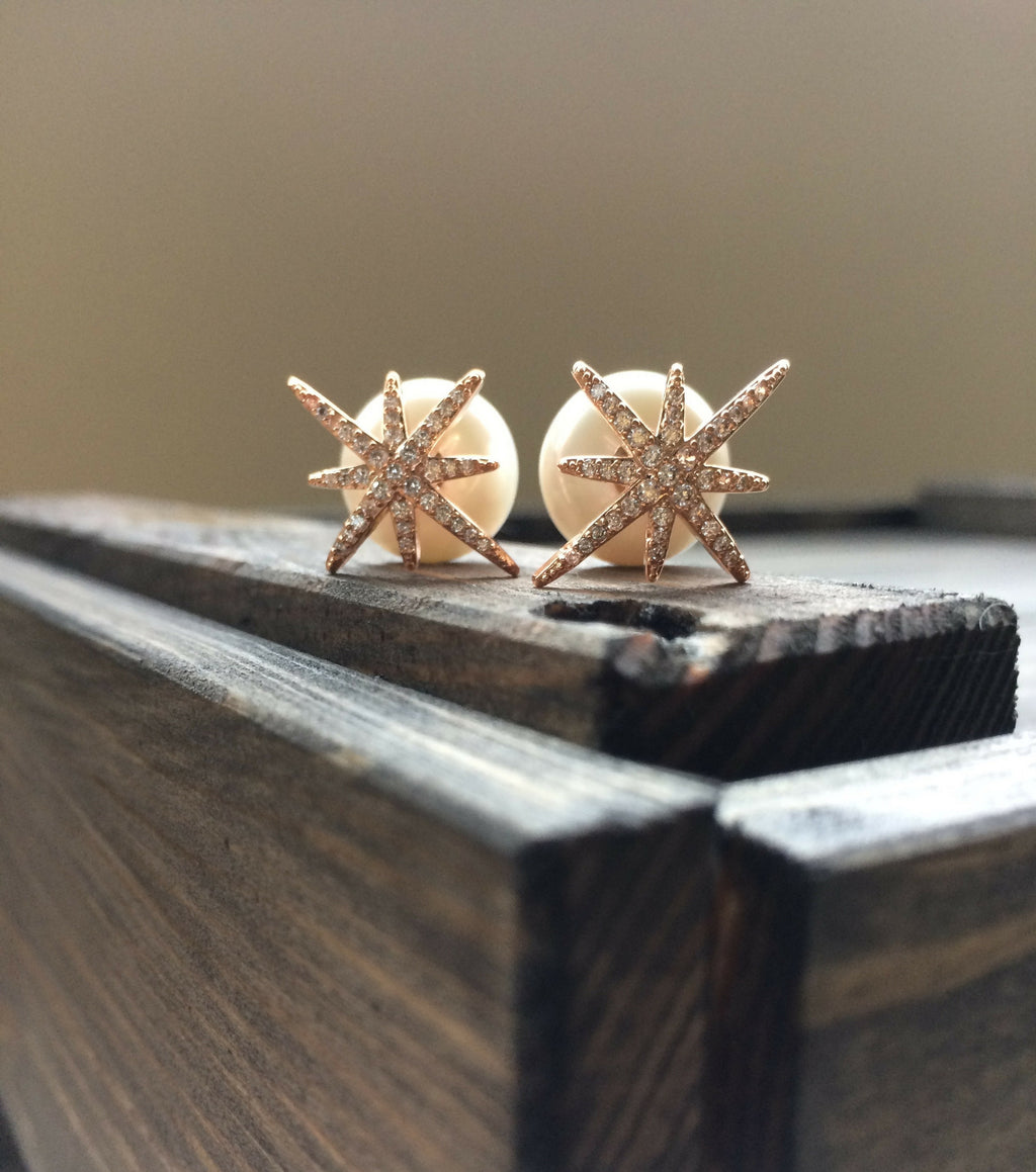 Star and Pearl Studs - Rose Gold