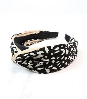 Animal Print Headband - Black