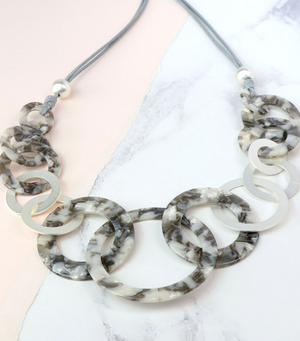 Grey Resin Matt Silver Multi Hoop Cord Necklace
