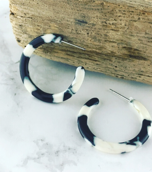 Black and White Print Resin Hoops