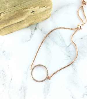 Circle Pave Bracelet - Rose Gold