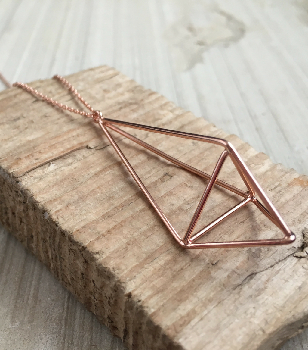 Geo Drop Pendant - Rose