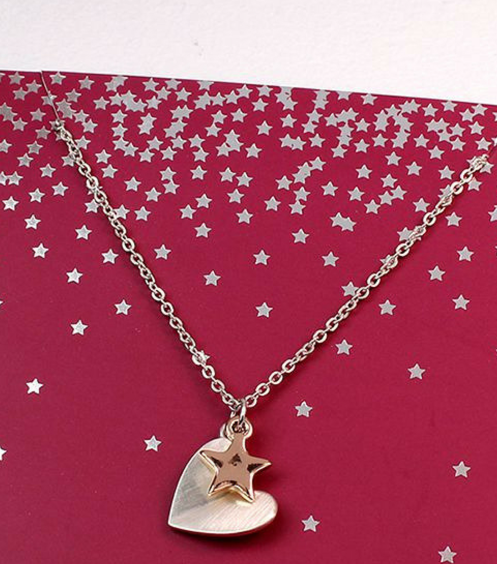 Folding Heart And Rose Gold Star Necklace
