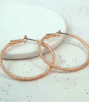 Sparkle Hoop Earrings - Rose