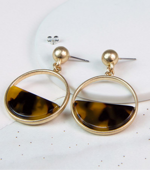 Leopard Semi-Circle Acrylic Disc Earrings