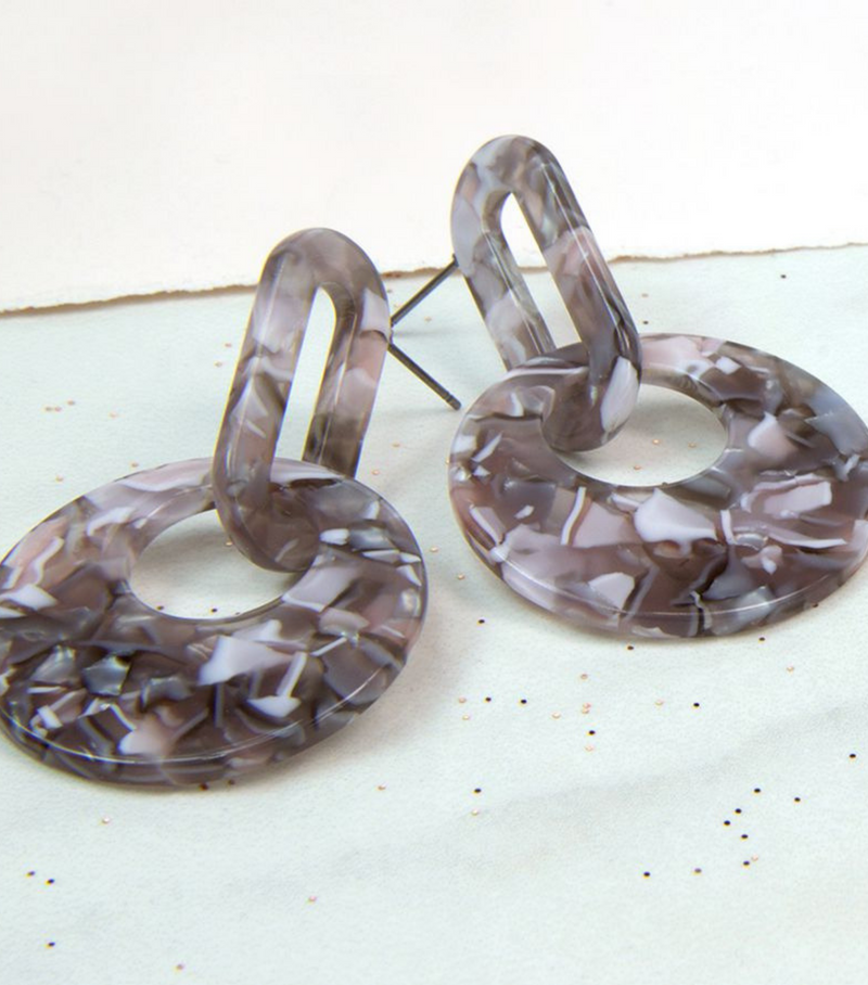Grey Mix Acrylic Linked Earrings
