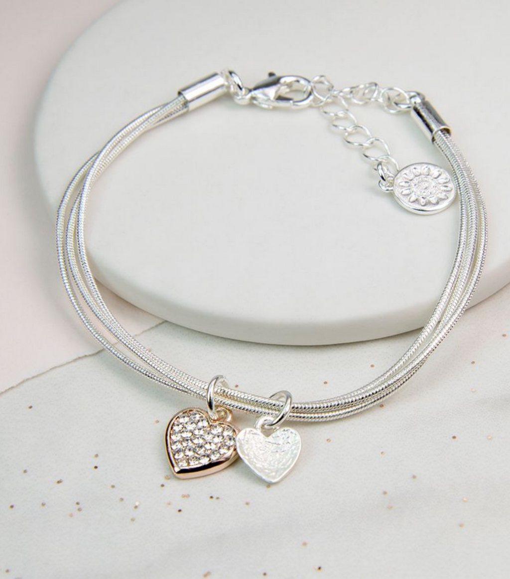 Rose Gold Crystal And Silver Heart Bracelet