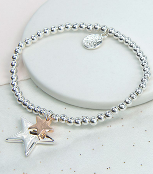 Silver And Rose Gold Double Star Bracelet