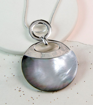 Grey Shell Disc Necklace