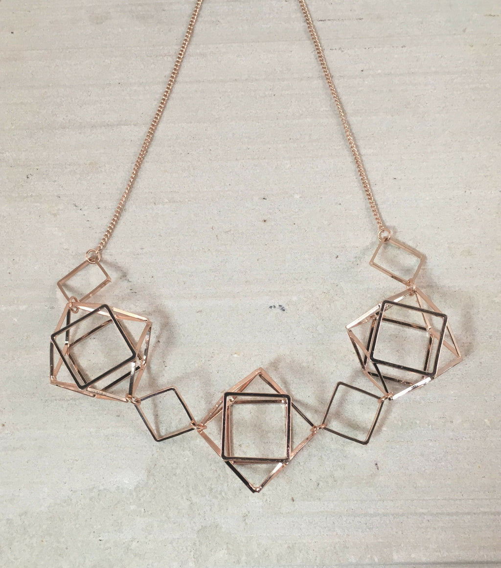 Geometric Caged Necklace - Rose