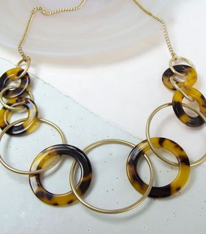 Leopard Acrylic Multi Hoop Necklace
