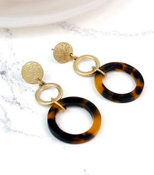 Tortoise Shell Hoop Earrings