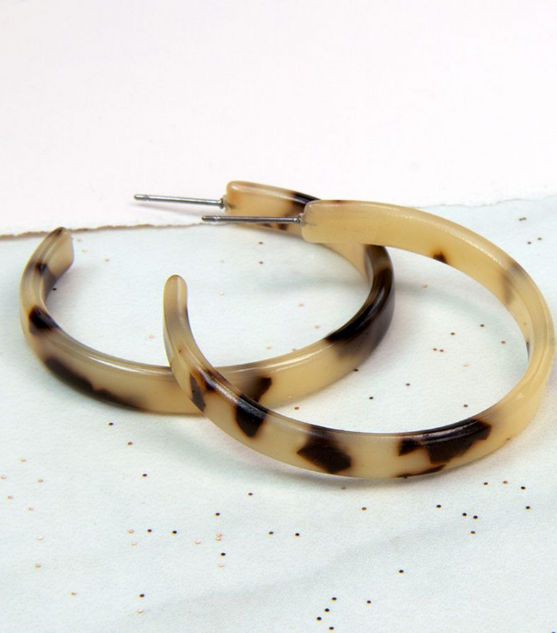 Taupe Mix Acrylic Hoop Earrings