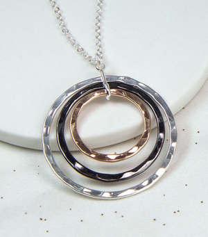 Silver, Rose Gold And Hematite Triple Hoop Necklace