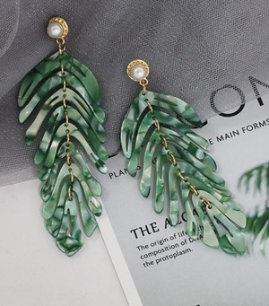 Leaf Drop Earrings - Green