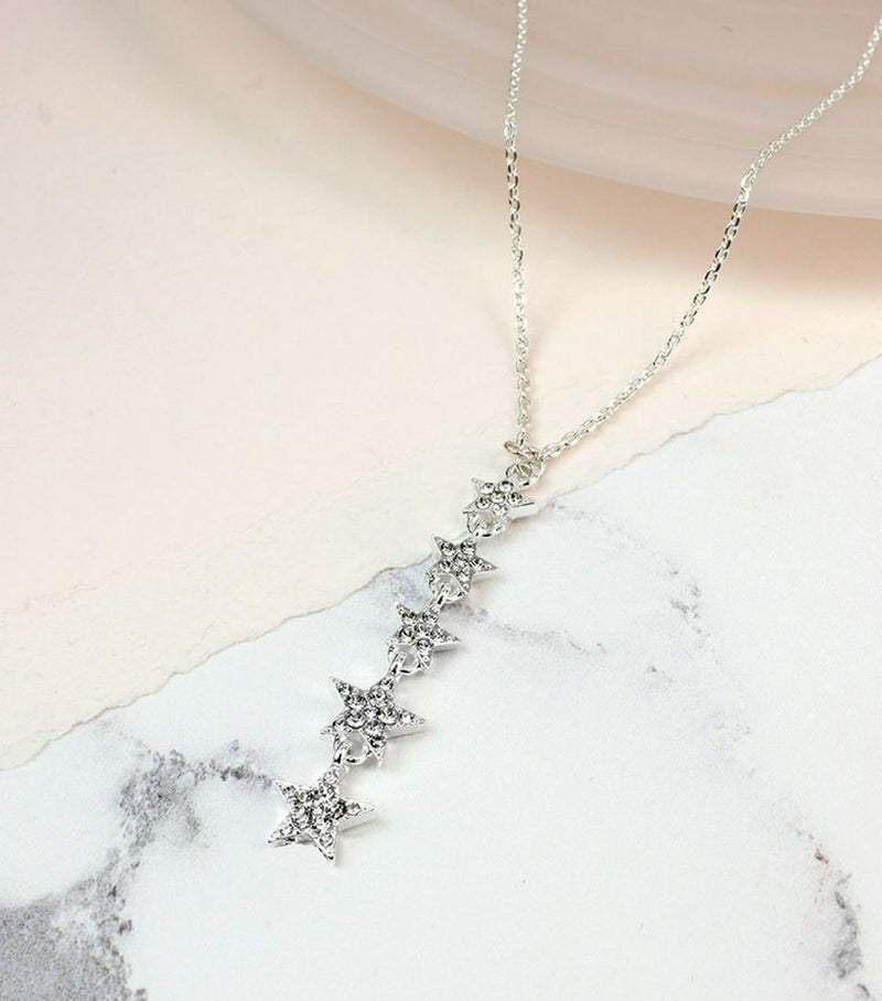 Crystal Multi Star Drop Necklace