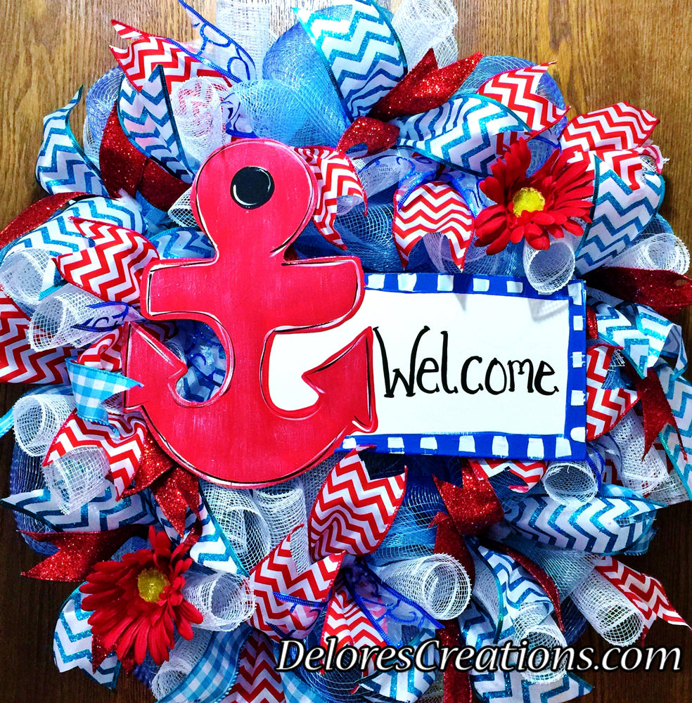 Anchor Welcome Sign Floral Red White Blue - Door Wreath