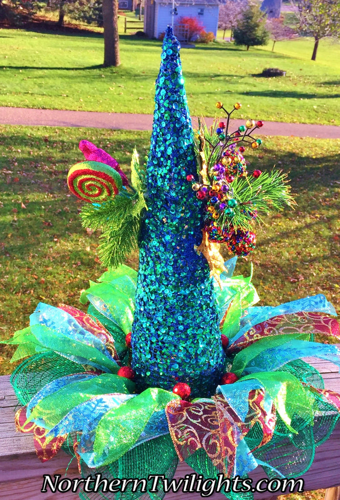 Blue Glittery Sequined Ribbons Candy Cone - Holiday Christmas Centerpiece