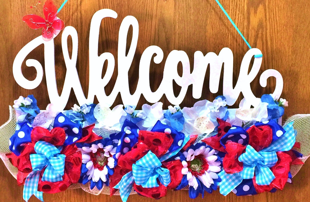 Red White Blue Floral Butterfly - Welcome Door Wreath Hanger