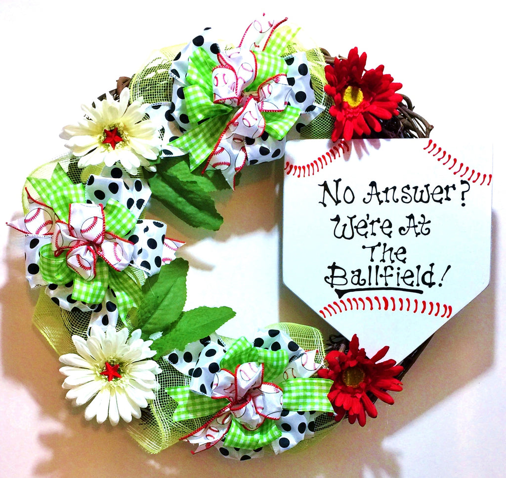 No Answer We're at the Ballfield Base Baseball Softball - Welcome Door Grapevine Wreath