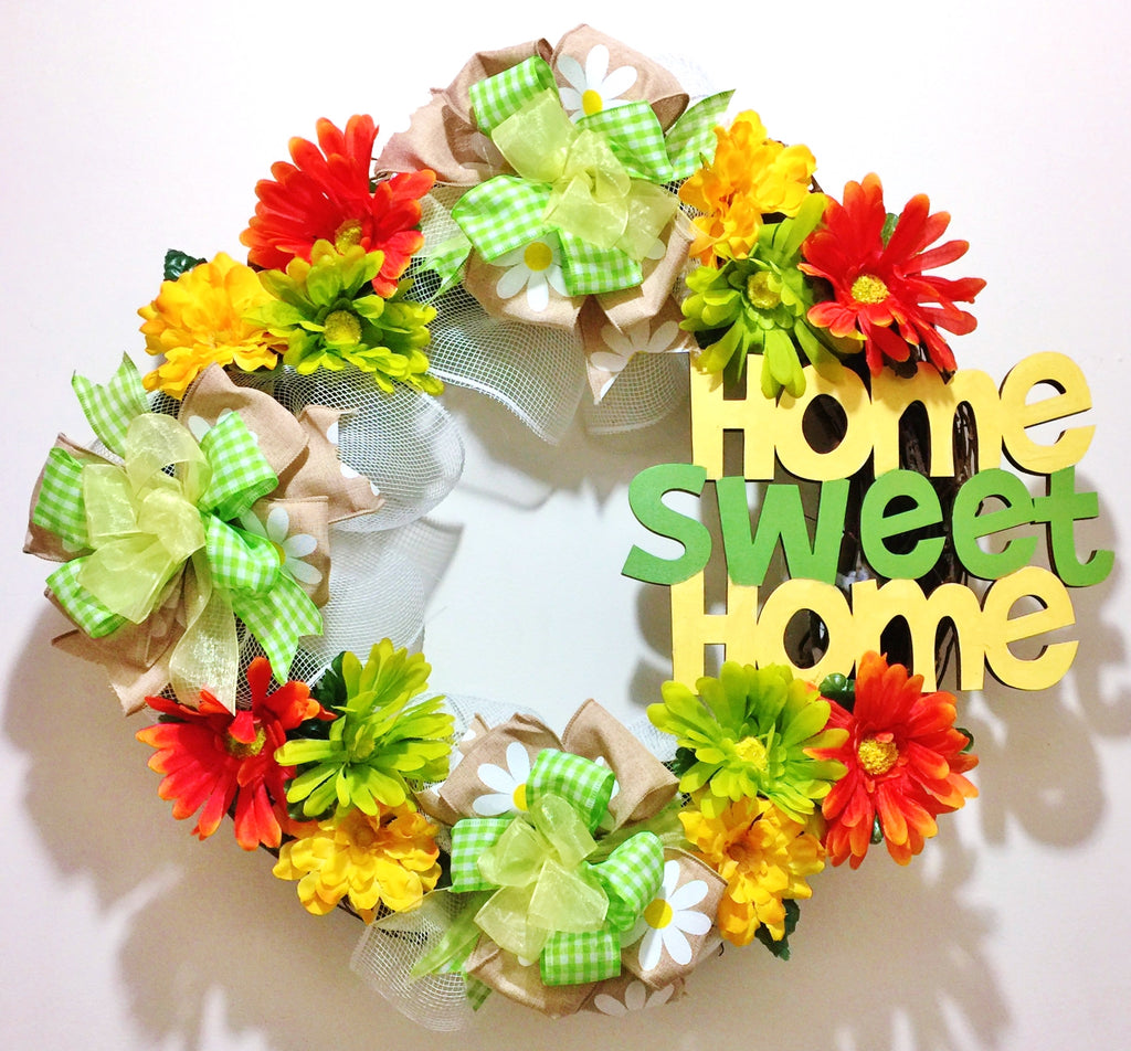 Home Sweet Home Floral Yellow Green Orange - Welcome Door Grapevine Wreath