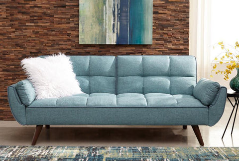 Turquoise Blue Woven Fabric Sofa bed