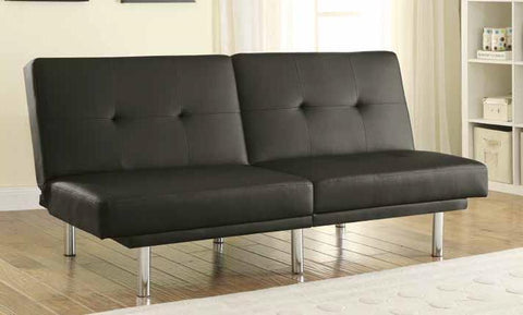 Split Backs Black Leatherette Sofa Bed