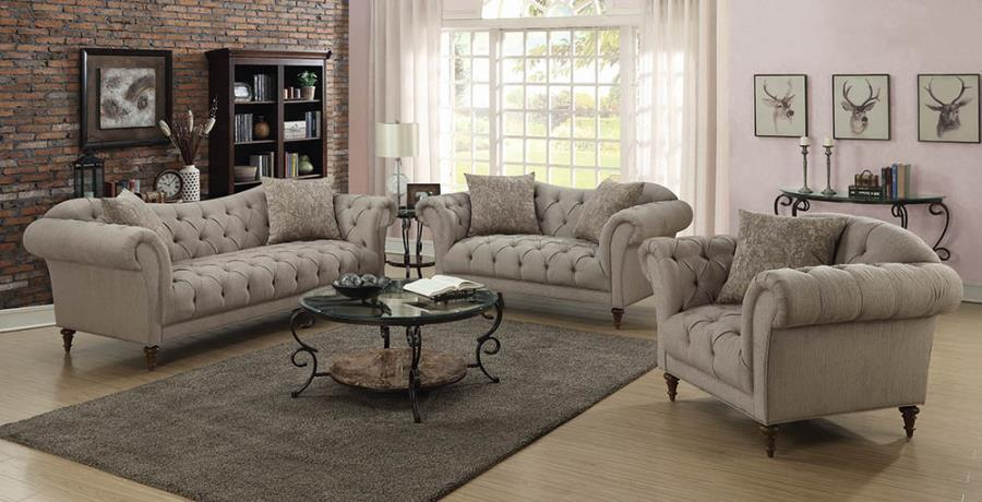 Alasdair Light Brown Living Room Set
