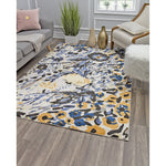 Ivory Blue Floral Transitional Rug