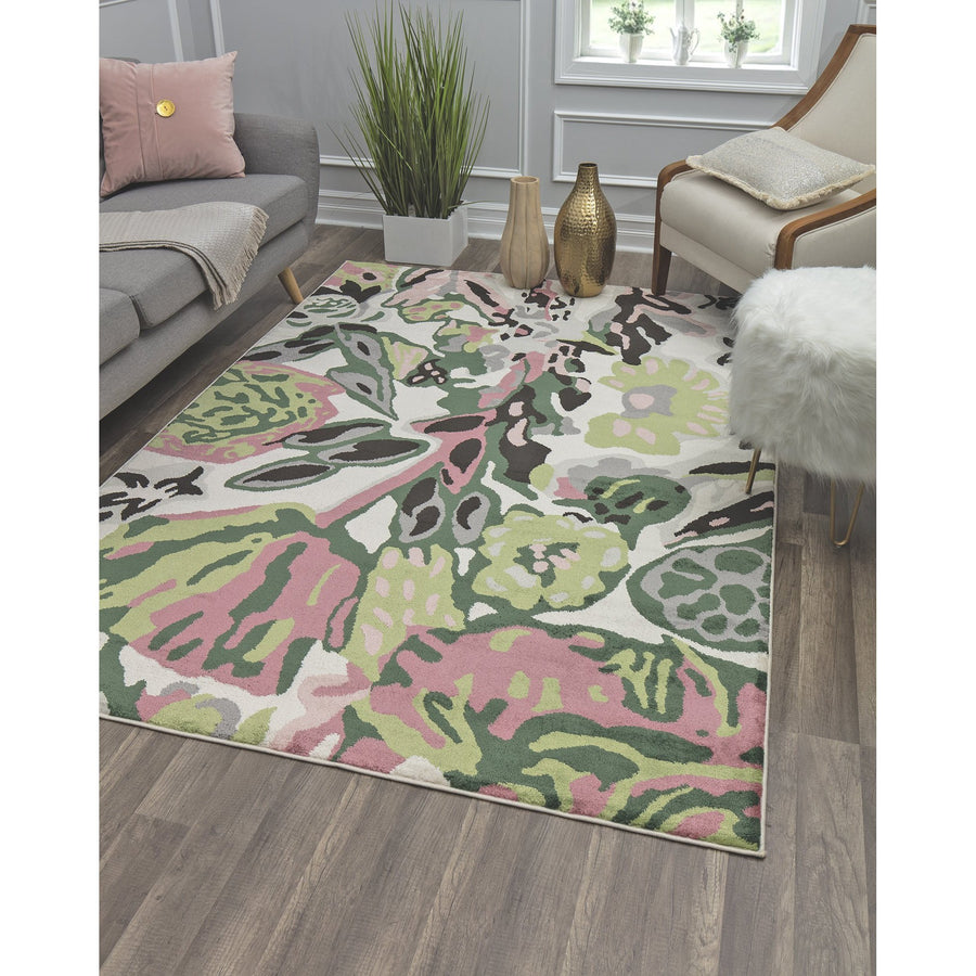 White Green Floral Contemporary Rug