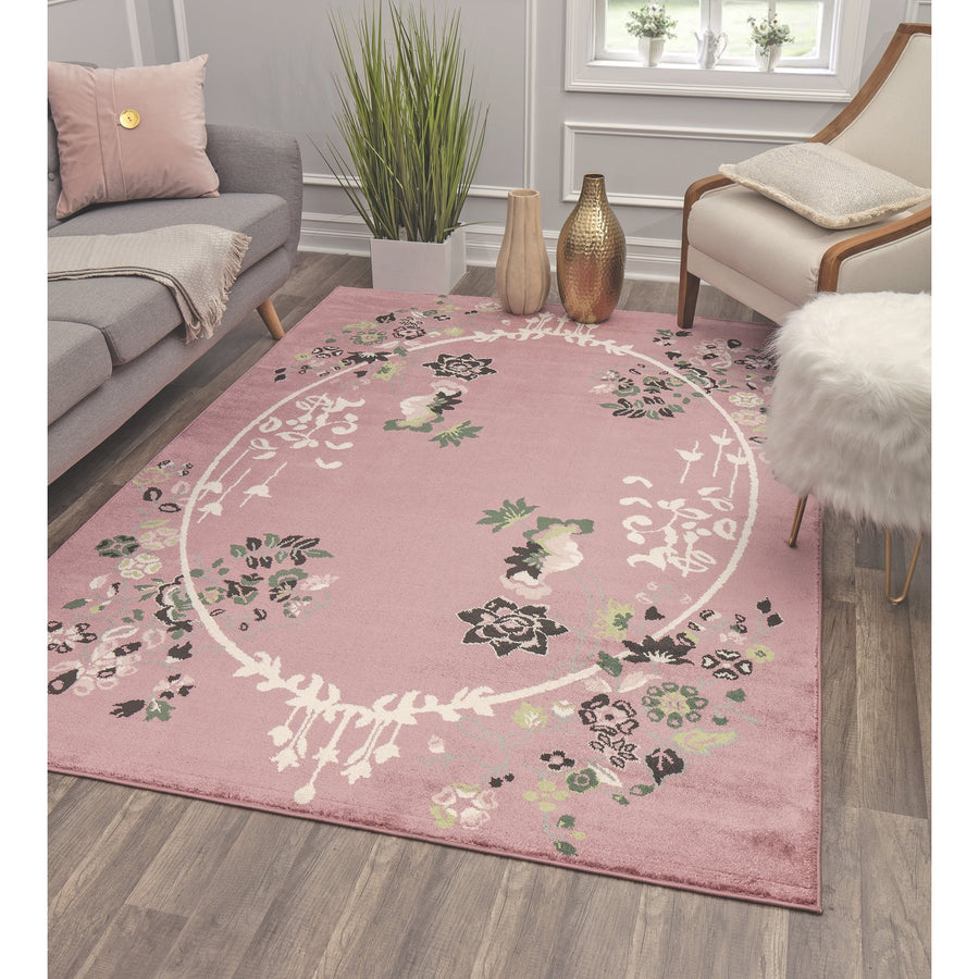 Rose Ivory Floral Transitional Rug