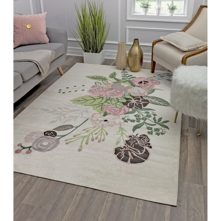 Cream Pink Floral Transitional Rug