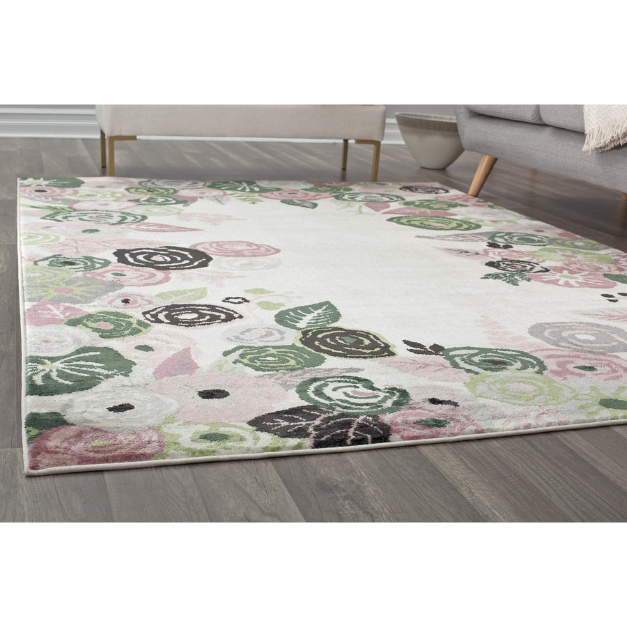 Ivory & Pink Blooms Transitional Rug