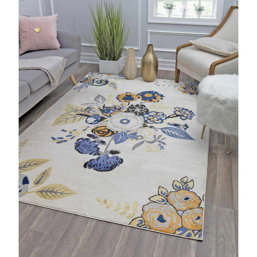 Ivory Blue Bouquet Transitional Rug