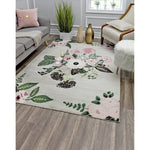 Grey Pink Bouquet Transitional Rug