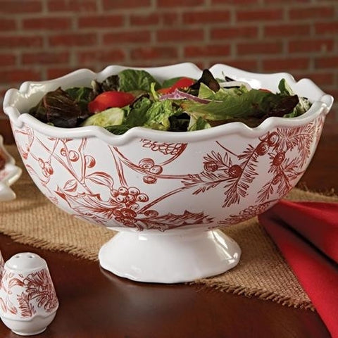 Holly Toile Pedestal Bowl