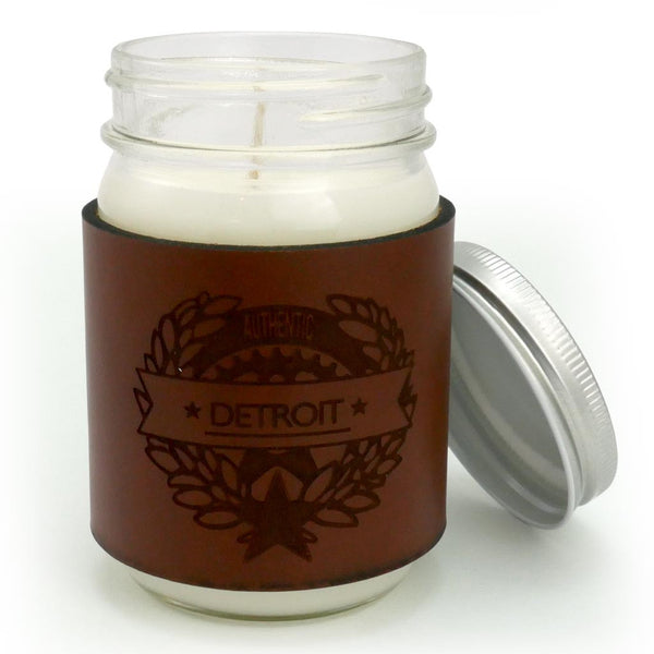 Detroit Authentic Leather Wrap Candle