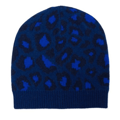 100% Cashmere Leopard Print Beanie Hat With Ribbed Finish - Electric Blue & Navy Somerville Scarves