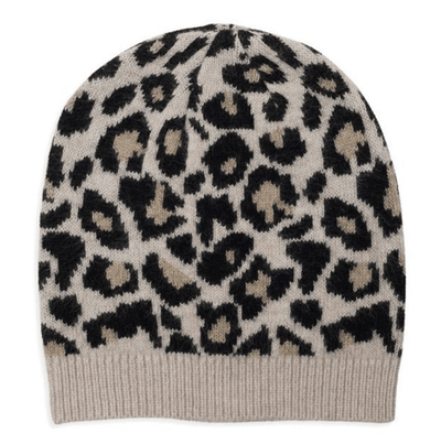 100% Cashmere Leopard Print Hat With Ribbed Finish Somerville Scarves