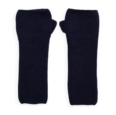 100% Cashmere Ribbed Navy Wrist Warmers Somerville Scarves