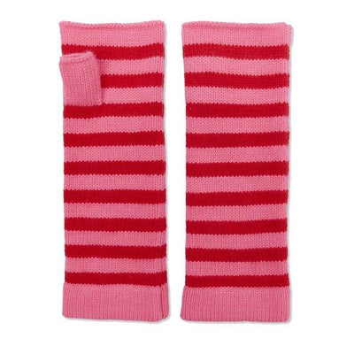 100% Cashmere Wrist Warmers - Red and Pink  Somerville Scarves