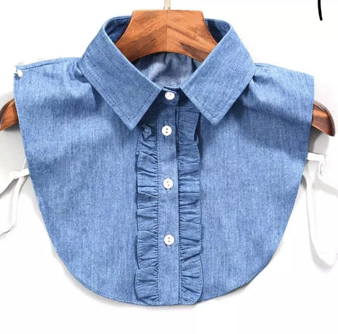 Chambray Blue Cotton Ruffled Mock Collar Collar TLM Edit