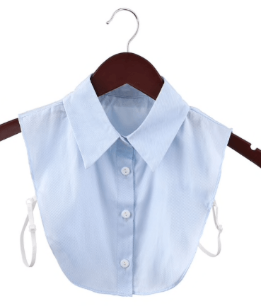 Detachable Classic Mock Shirt Collar With Buttons - Pale Blue Collar TLM Edit