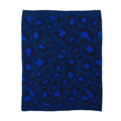Electric Blue Leopard Print Cashmere Snood Somerville Scarves