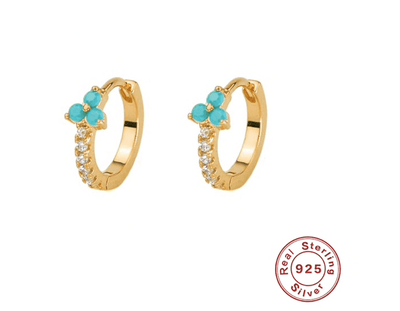 Gold & Turquoise Jewelled Huggies TLM Edit