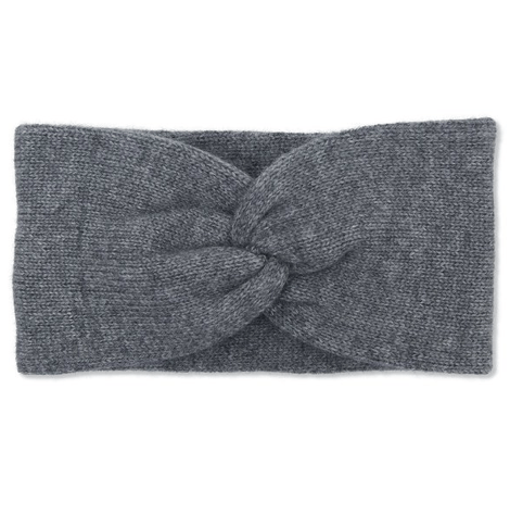 Grey Cashmere Double Layered Knit Headband Somerville Scarves